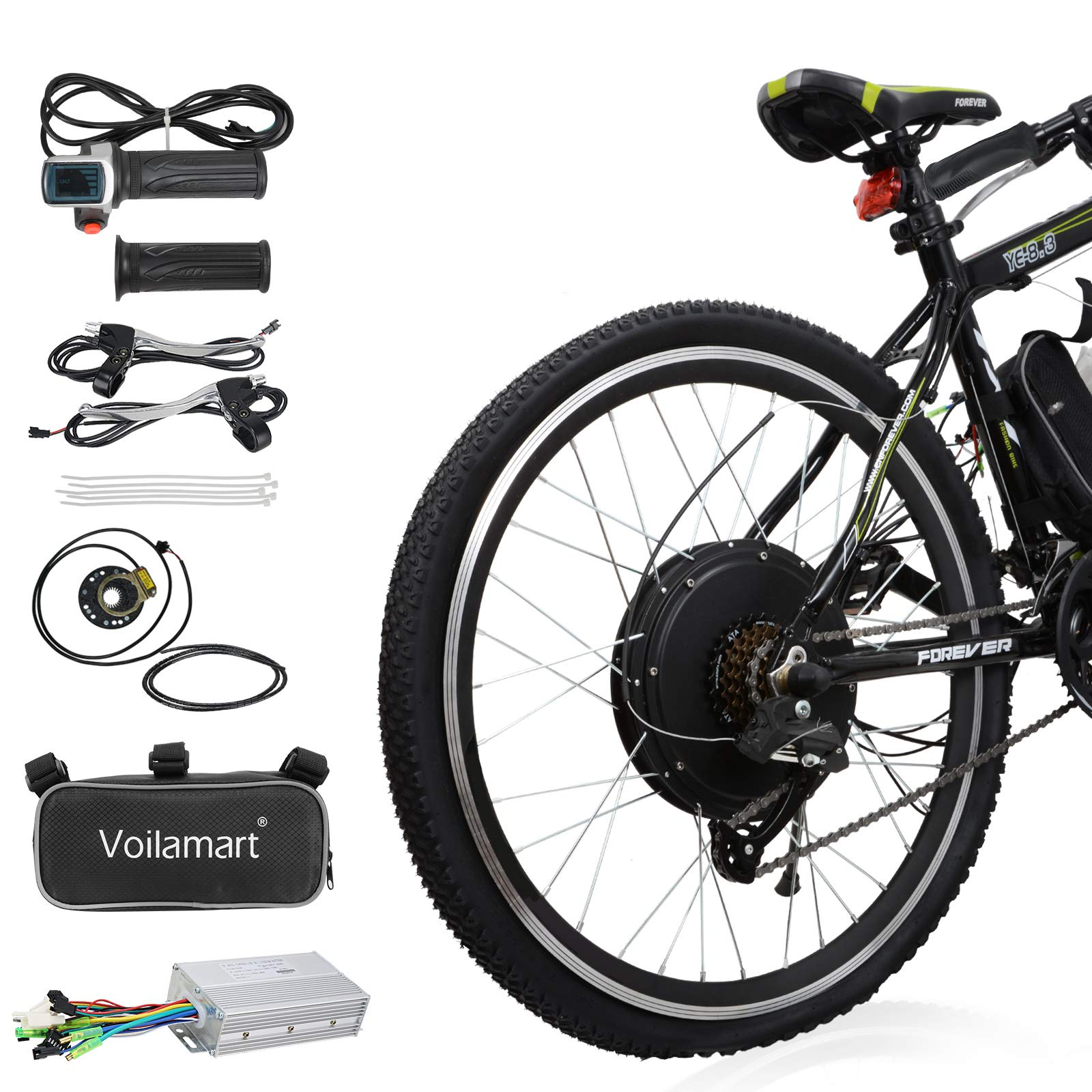 """Voilamart Electric Bicycle Kit 26"""" Rear Wheel 48V 1000W E-Bike Conversion Kit, Cycling Hub Motor with Intelligent Controller and PAS System for Road Bike"""