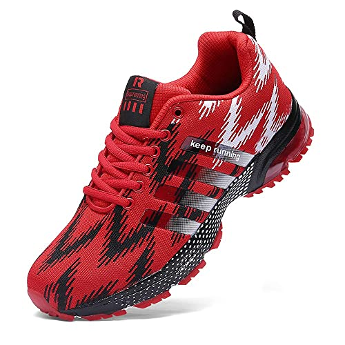 5a8cd241c Ahico Running Shoes for Men - Air Cushion Mens Sneakers Tennis Shoe  Lightweight Walking Breathable Men's Athletic Cross Training Sport Red Size  12: ...
