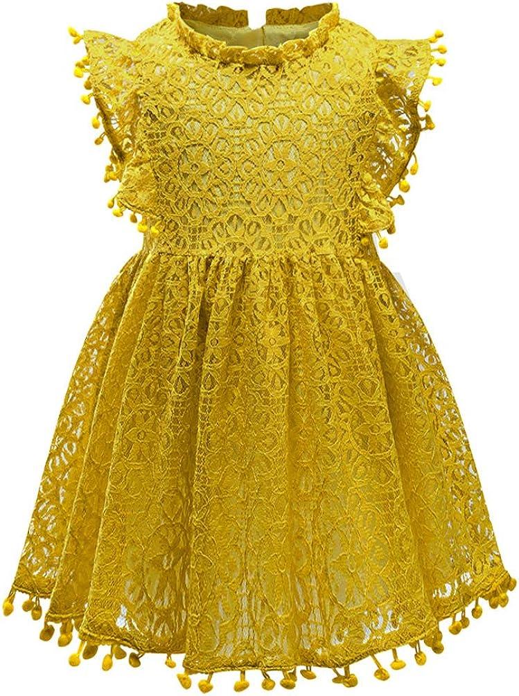 Csbks Baby Toddler Girls Cute Pompoms Lace Floral Elegant Retro Swing Party Dress