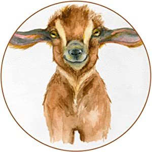 Cup Coaster Watercolor Goat Head Funny Coasters for Drinks, Set of 6 (4.3 x 4.3 Inch, 2mm Thick) Microfiber Leather Drink Coasters Home Decor Gag Gifts for Women, Men