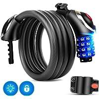 Cadenas de velos avec lumière LED, câble de verrouillage de vélo de 5 pieds Verrouillage de base auto-réarmable Combinaison de 4 verrous de câble de vélo avec support de montage gratuit, 120 * 12cm