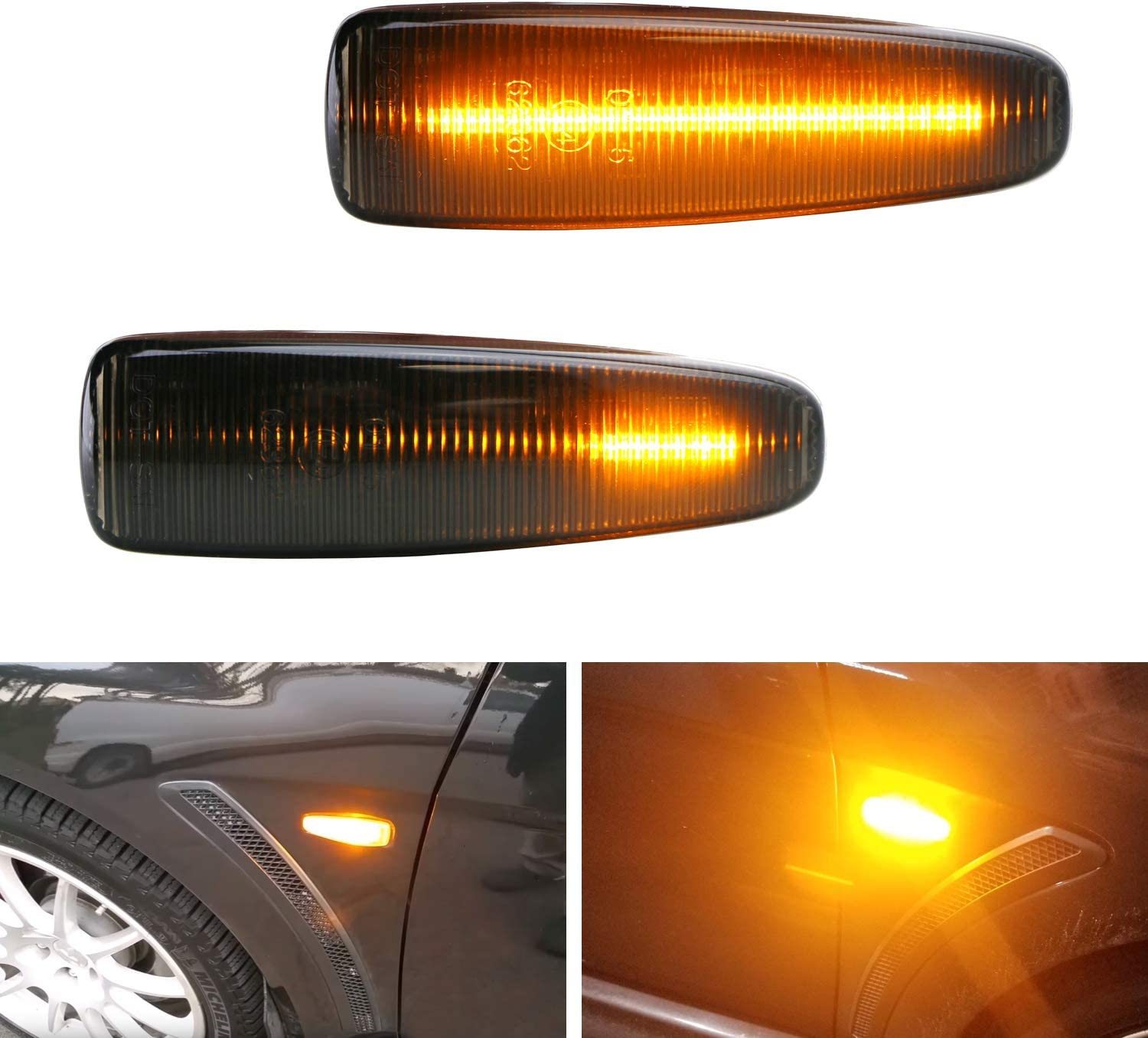 Powered by 36-SMD LED OEM Sidemarker Lamps Replacement Smoked Lens Sequential Amber LED Side Marker Light Compatible With Mitsubishi Lancer Evo X Mirage Outlander Sport