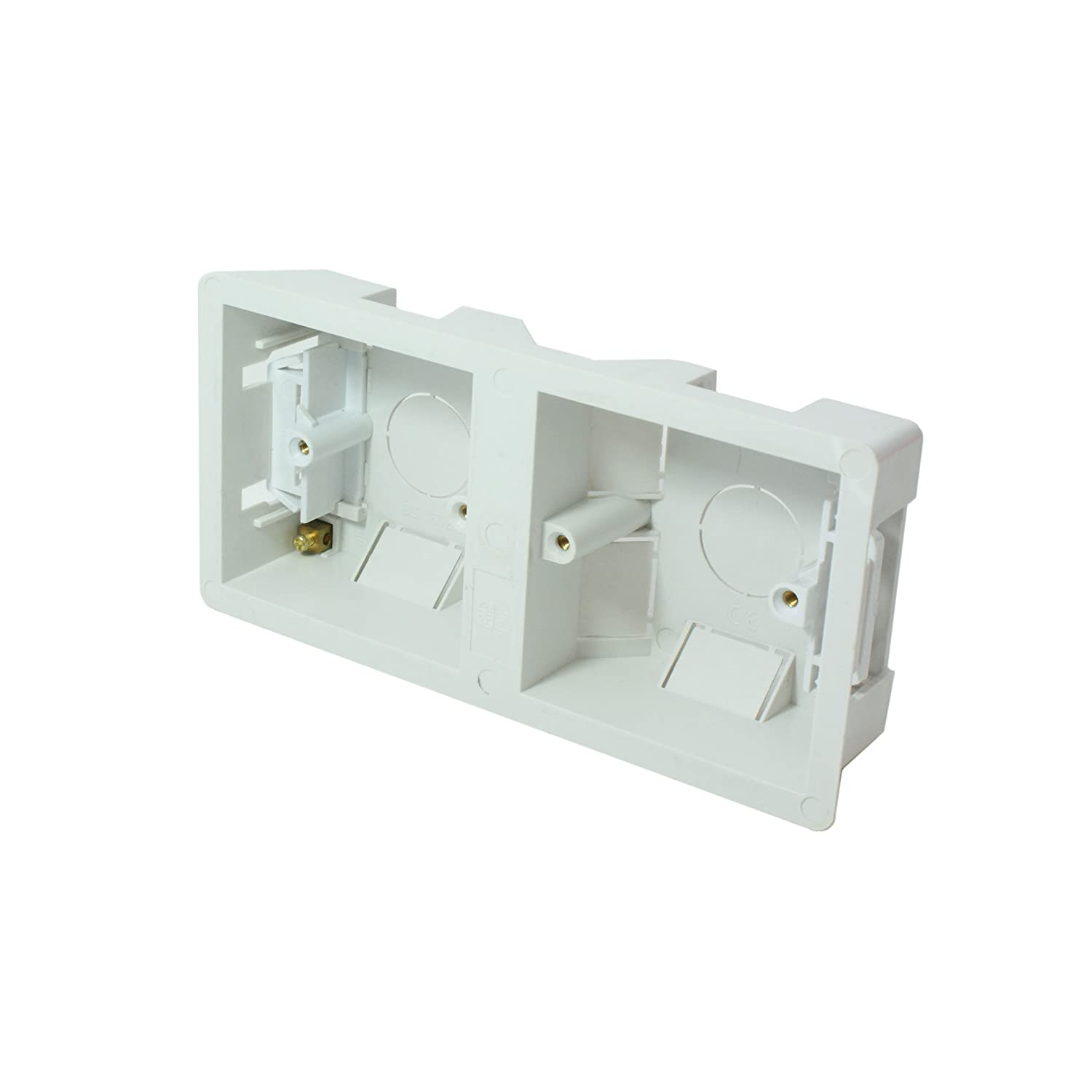 35mm Deep Double/Dual Plastic Dry Lining Back Box - 1 Gang Wall Flush Mount Pattress Loops 481