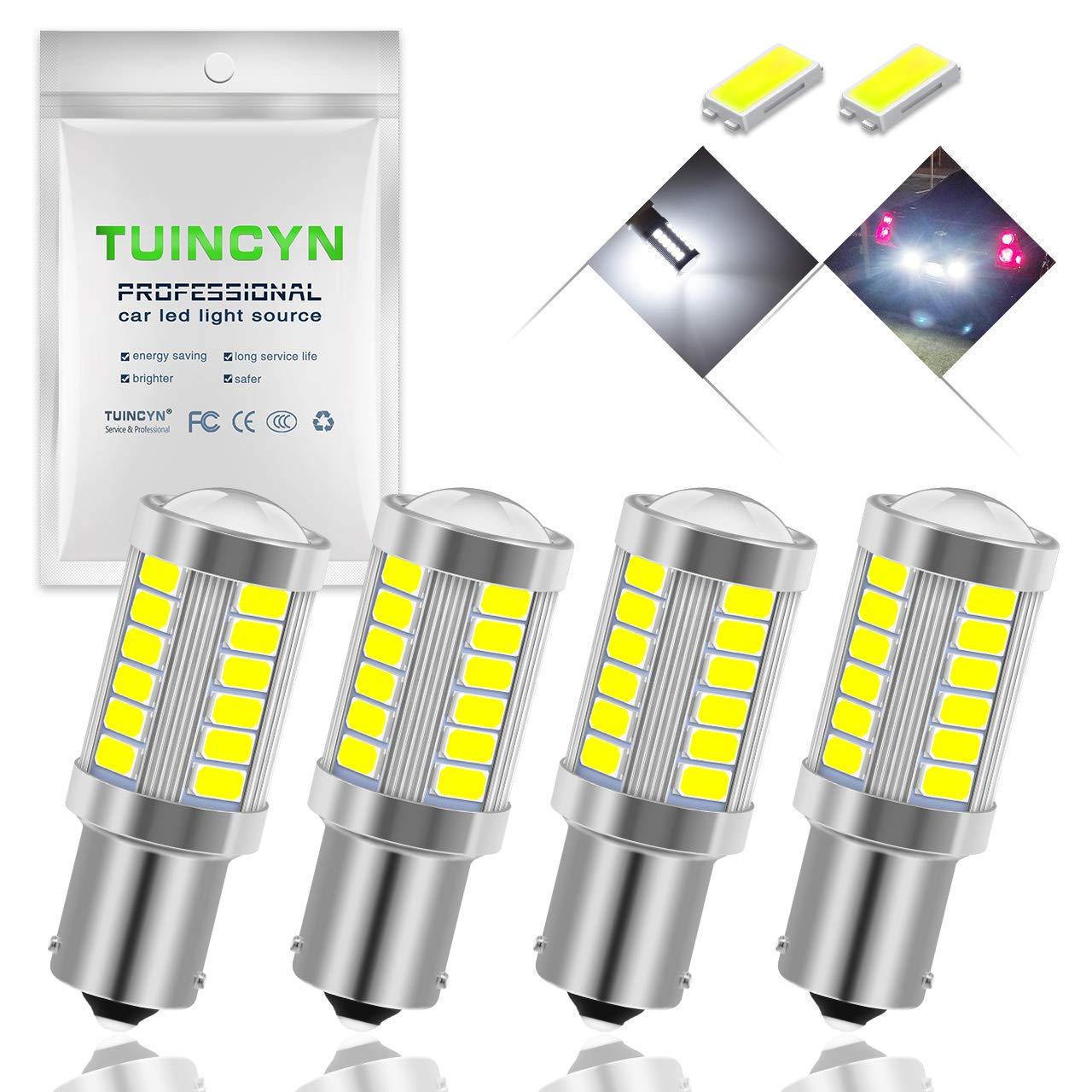 Pack of 4 TUINCYN BAU15S PY21W LED Bulb Amber Yellow Turn Signal Light Bulb Super Bright 8000K 5630 33SMD 1156 7507 12496 5009 7507AST Brake Light Back Up Reverse Light Parking Light DC 12V