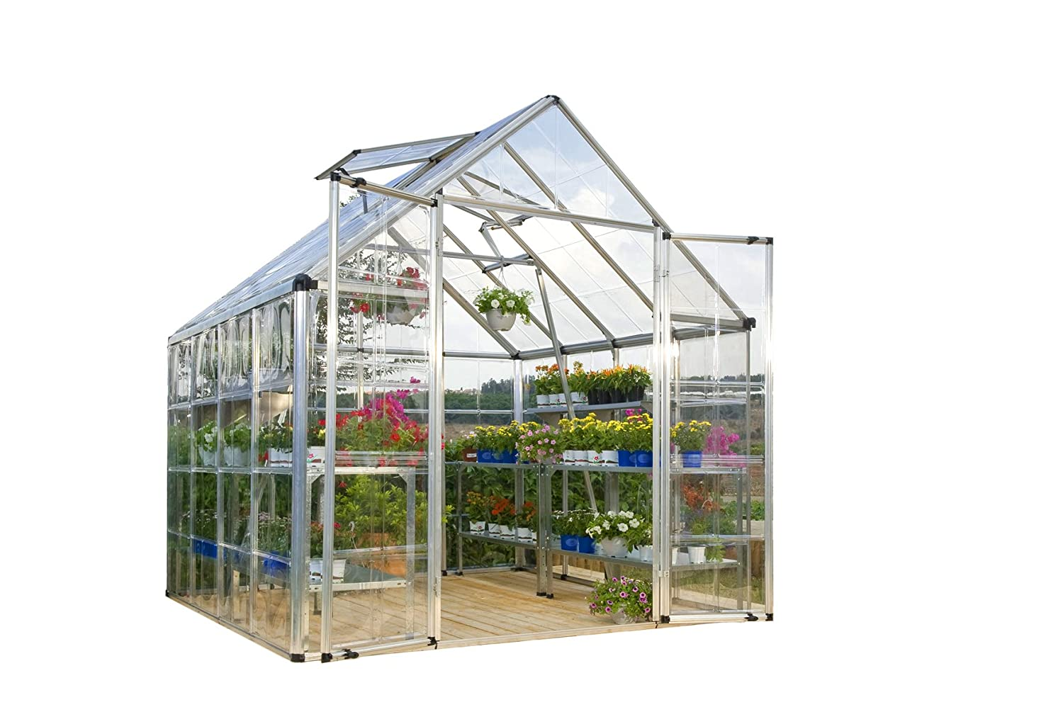 Amazon.com : Palram Snap & Grow Greenhouse - 8' x 8' - Silver : Greenhouse  Cold Frames : Garden & Outdoor