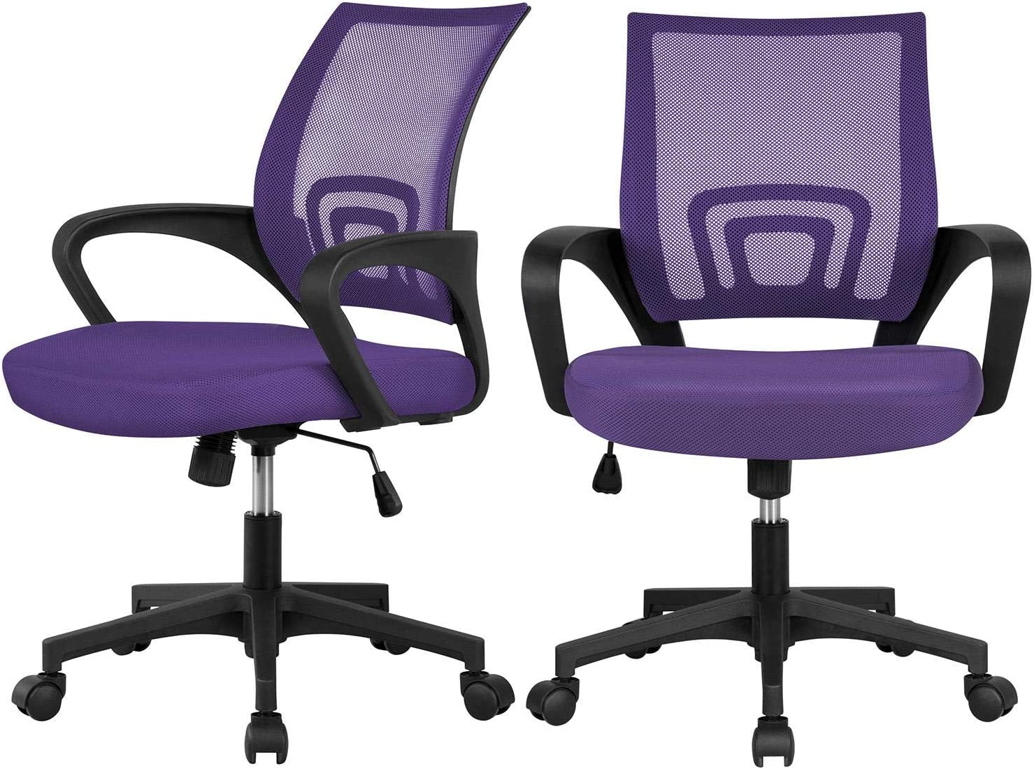 YAHEETECH 2Pcs Mesh Adjustable Desk Chairs, Ergonomic Executive Chairs with Lumbar Support for Back Pain Purple