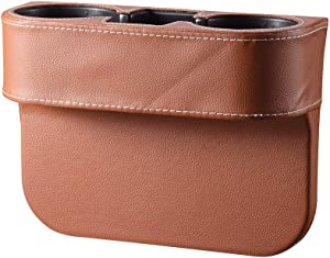 Elecrelive Universal 2 Cup Drink Holder, Auto Front Seat Organizer, Car Seat Wedge Console Side Pocket Mobile Phone Storage (Brown)