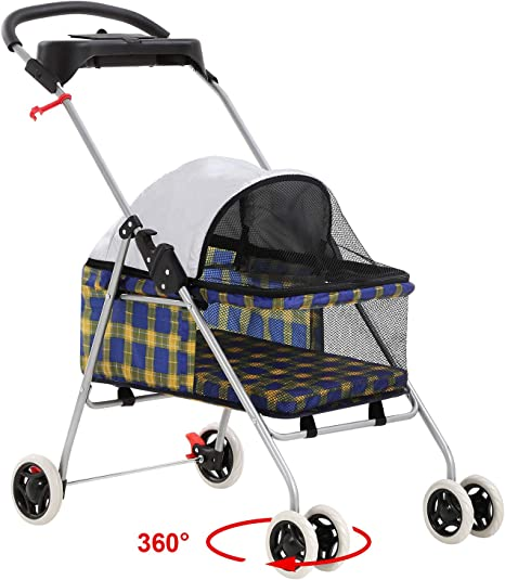 Posh Pet Stroller Waterproof Dogs Cats Stroller w//Cup Holder Yellow Plaid New