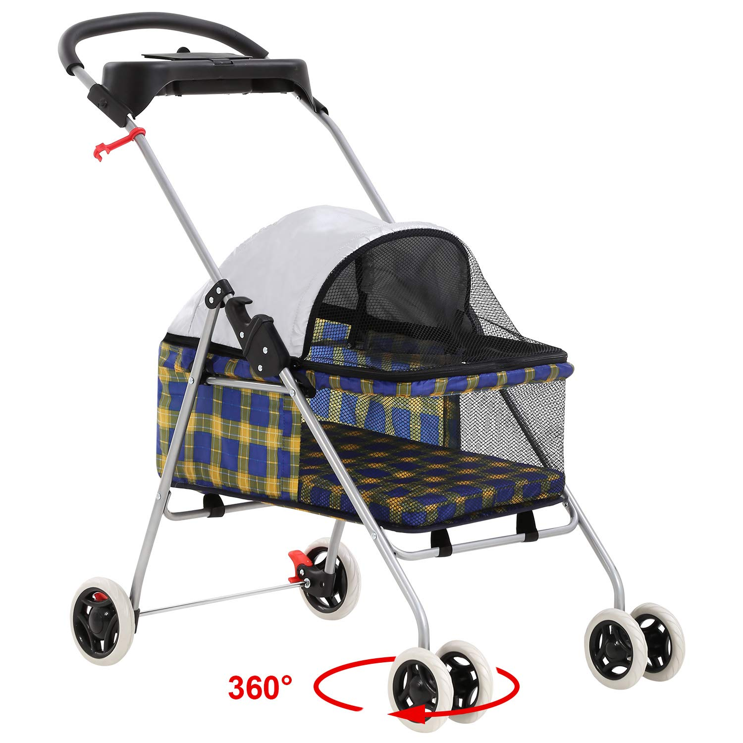 BestPet New Yellow Plaid Posh Pet Stroller Dogs Cats w/Cup Holder by BestPet