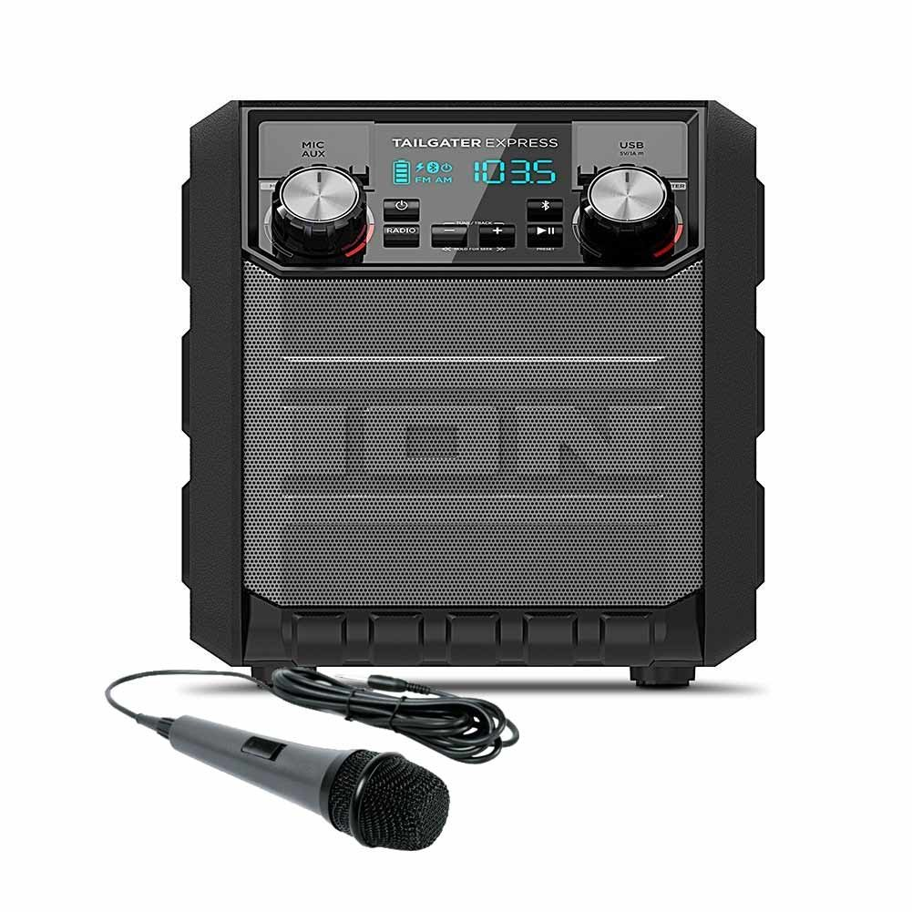 Ion Audio Tailgater Express Compact Water Resistant Esp Ltd Vintage 204 Electric Bass Guitar Wiring Diagram Wireless Speaker System With Am Fm Radio Usb Charge Port Dynamic Microphone 10