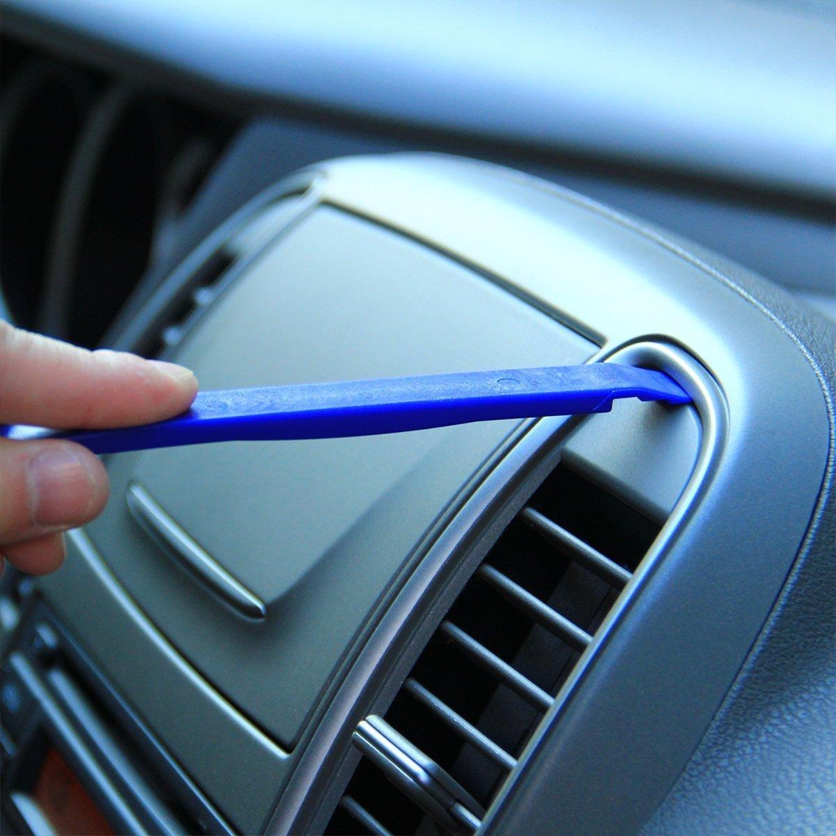 EKIND 12 Pcs Car Dash Radio Audio Installer Pry Tool Include 11pcs Auto Trim Removal Multi-Use Panel Tool Kit and 1pcs Fastener Remover