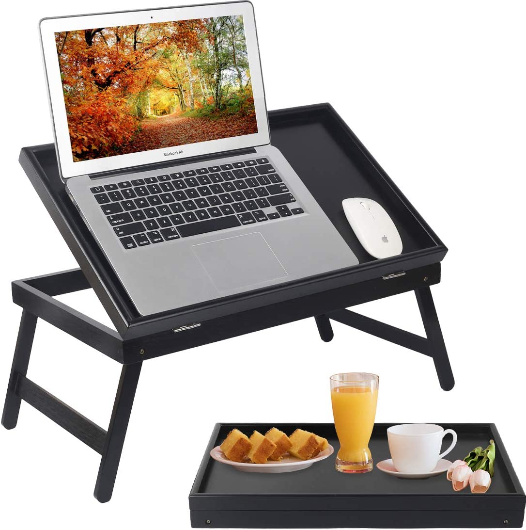 Lap Desks Bed Table Laptop Breakfast Tray with Folding Legs Kitchen Serving Tray for Notebook Computer Bed Platters TV Table Desk Snack Tray (Black)