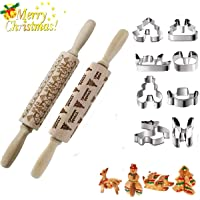 Christmas Engraved Rolling Pins,3D Wooden Embossing Rrolling Pin with Christmas Themed Symbols, Stainless Steel Christmas Cookie Cutter for Baking