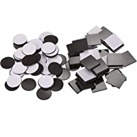 Pack of 100 Adhesive Magnetic Squares (Each 20 x 20 x 1.5 mm) and Magnetic Discs (Each 20 x 20 x 1.5 mm) Flexible Rubber Magnets for Fridge Organisation, DIY Art Project, Vision Board