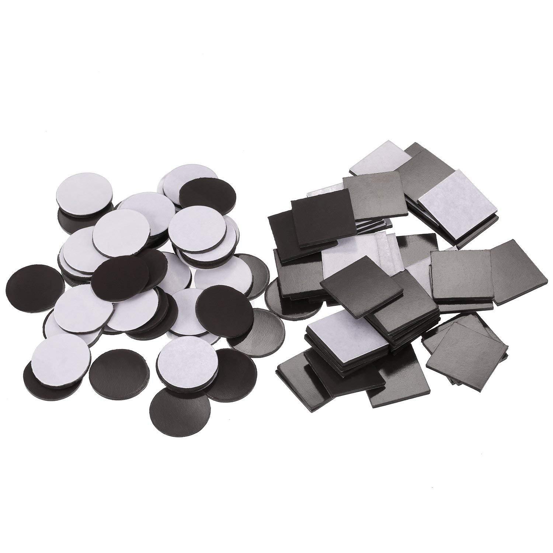 Pezzi di 100 Quadrati Magnetici Adesivi (Ogni 20 x 20 x 1.5 mm) e Dischi Magnetici (Ogni 20 x 20 x 1.5 mm) Magneti in Gomma Flessibili per l' Organizzazione di Frigoriferi, Arte Progetto Fai Da Te, Boa Pangda