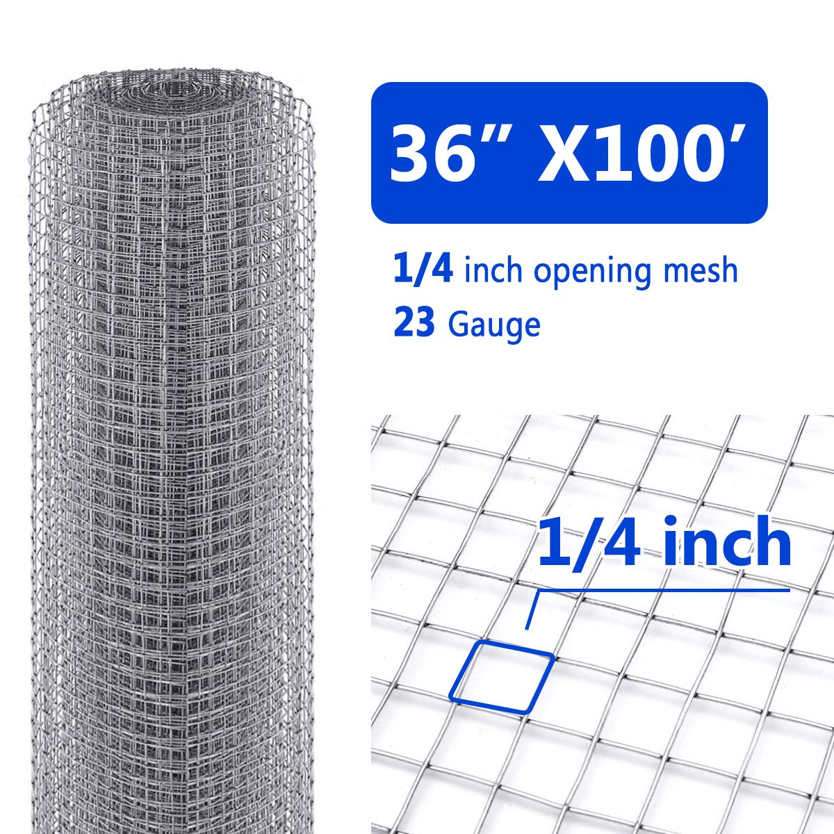 Tooca Hardware Cloth 1/4inch Wire Mesh 36in x 100ft, 23 Gauge Hot-Dipped Galvanized Material Fence Wire Mesh for Chicken Coop/Run/Cage/Pen/Vegetables Garden and Home Improvement Project by TOOCA