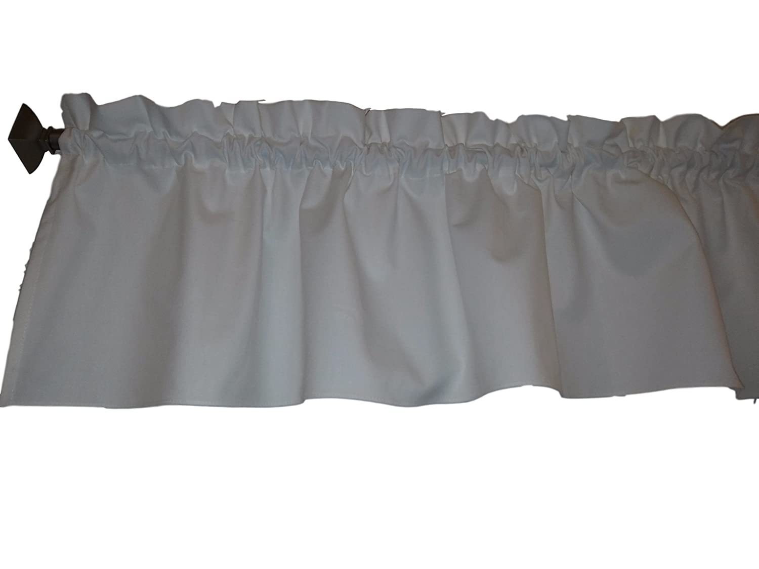 White Valance Curtain Solid Color. Ruffled on top. Window treatment. Window Decor. Kitchen, classroom, Kids, wide 56