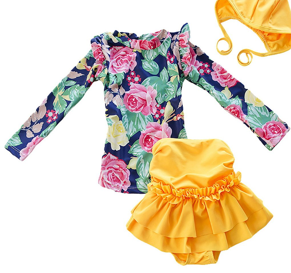 Little Girls Floral Sun Protection Tankini Swimsuit Long Sleeve Top and Skirt Set ACME