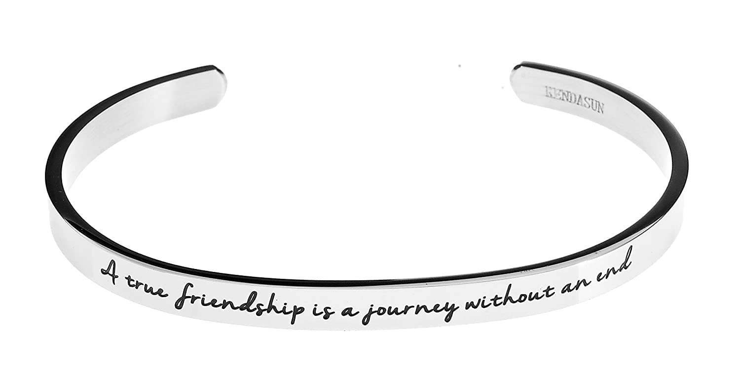 Zoey Jewelry A True Friendship is a Journey Without an end. Premium Stainless Steel Cuff Bangle Bracelet B016Z8YD76_US
