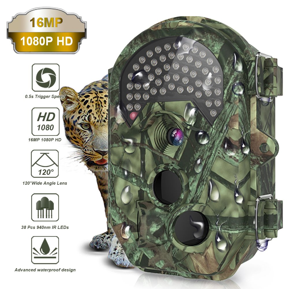 THZY Trail Camera, Waterproof 16MP 1080P HD Game Hunting Camera with Sound 120° Wide Angle Lens 0.5s Trigger Speed 38 Pcs 940nm IR LEDs No Glow Black Infrared Night Version up to 20M/65FT for Hunting by THZY
