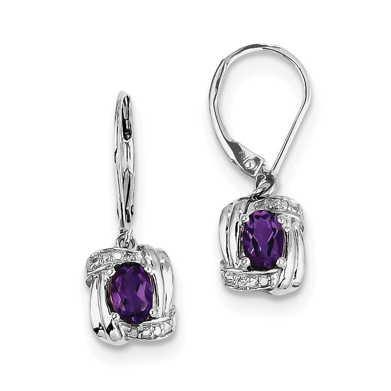 925 Sterling Silver Rhodium-plated Amethyst /& Diamond Dangle Earrings