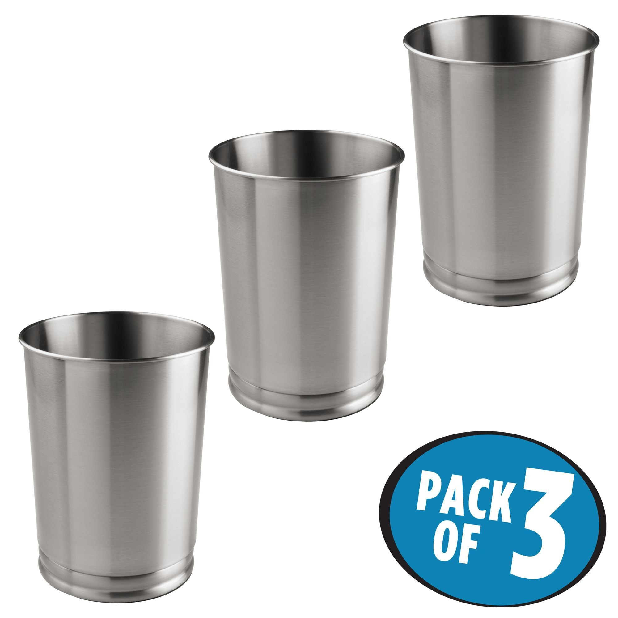 mDesign Round Metal Tall Trash Can Wastebasket, Garbage Container Bin for Bathrooms, Powder Rooms, Kitchens, Home Offices – Pack of 3 - Durable Steel Construction with a Brushed Finish