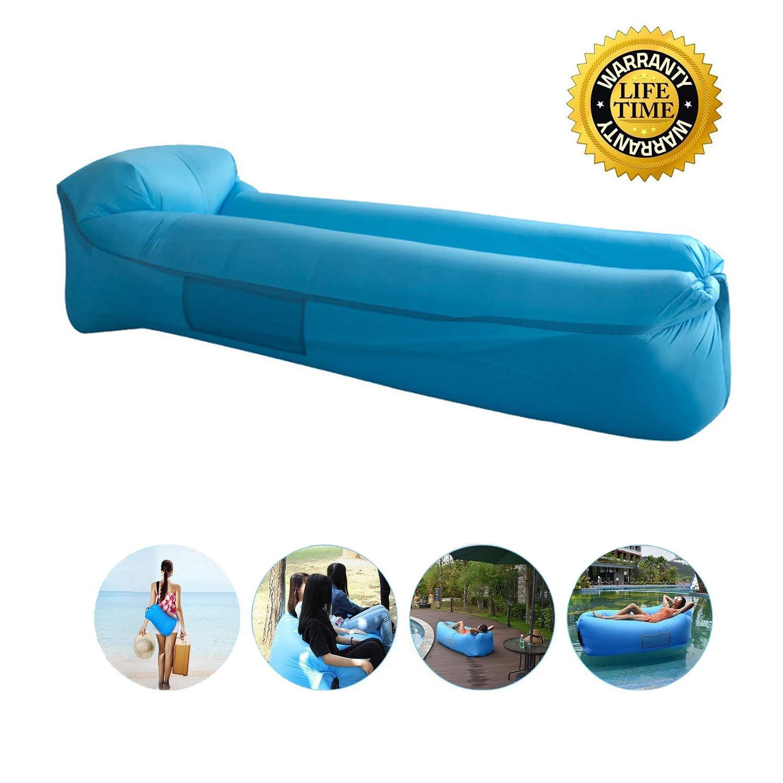 playa color azul Tumbona inflable parque sof/á inflable e impermeable con coj/ín integrado patio ideal para campamento verde