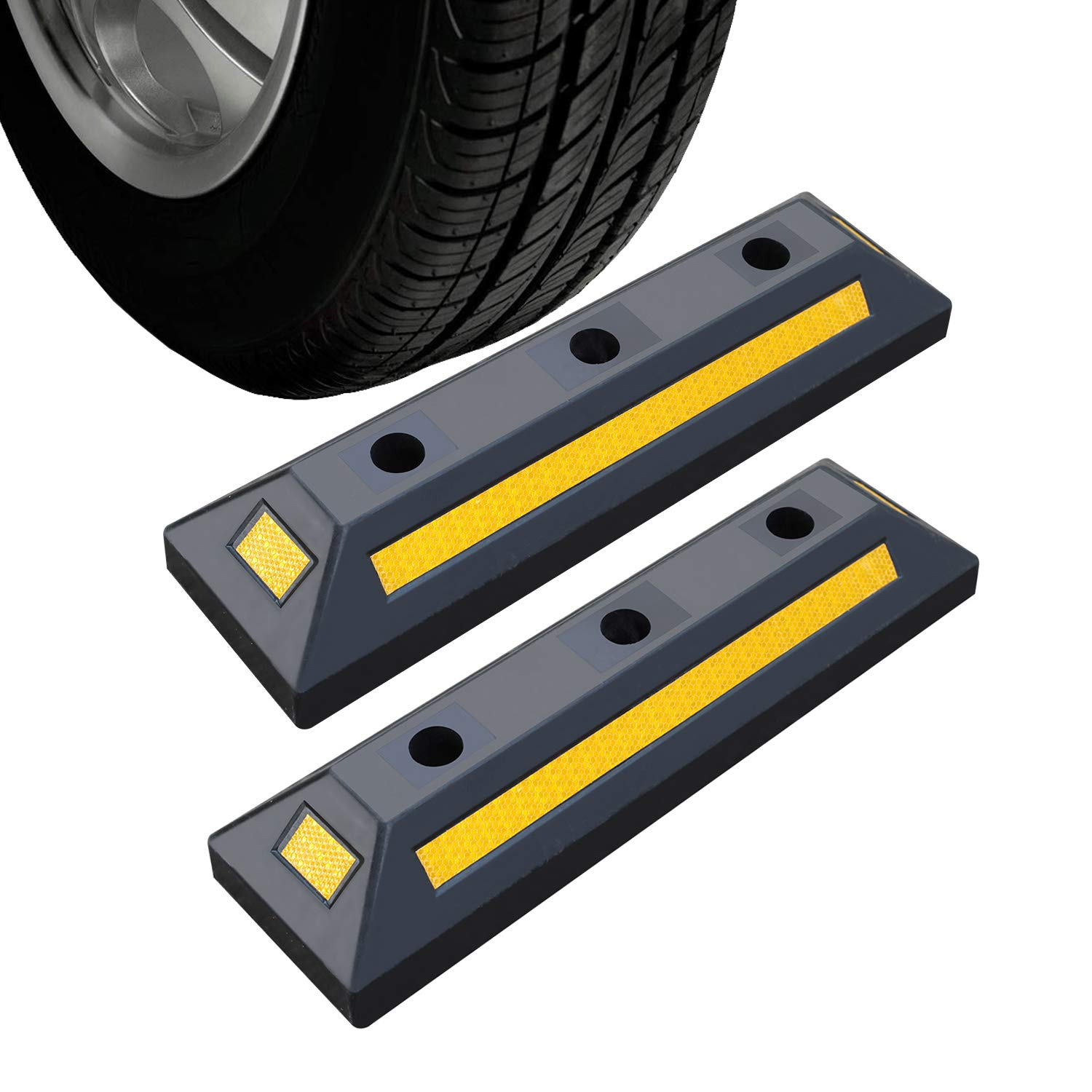2 Pack Heavy Duty Rubber Parking Blocks Wheel Stop for Car Garage Parks Wheel Stop Stoppers Professional Grade Parking Rubber Block Curb w/Yellow Refective Stripes for Truck RV, Trailer 21.25''(L) by Reliancer