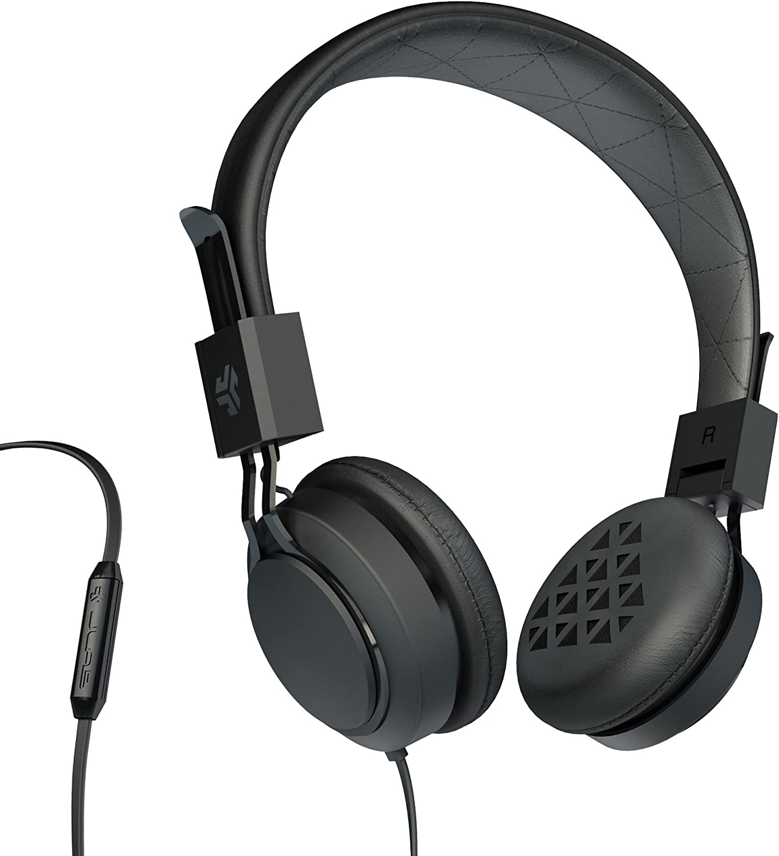 JLab Audio Intro Premium On-Ear Headphones, with Universal Mic (Black)