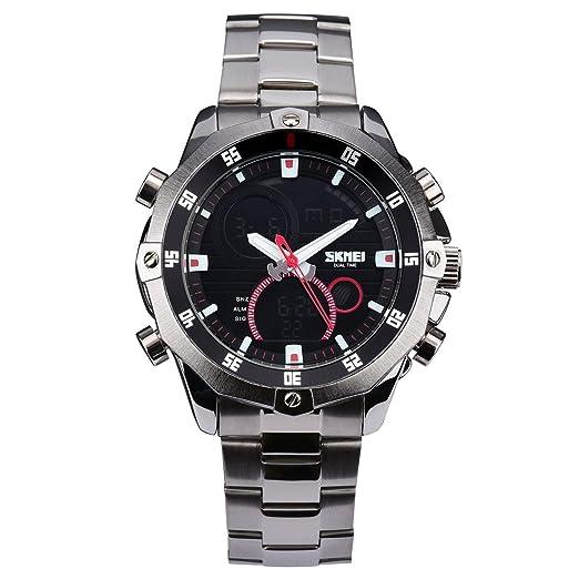 manecillas Hombre Reloj analógico digital cuarzo reloj deportivo Plata Acero Inoxidable Reloj de pulsera (LED Luz w437: Amazon.es: Relojes