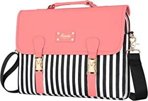 Kamlui Laptop Bag 13.3 Inch- for Women Cute Shoulder Messenger Macbook Pro Air Computer Laptop Case (Pink lid black and white stripes)