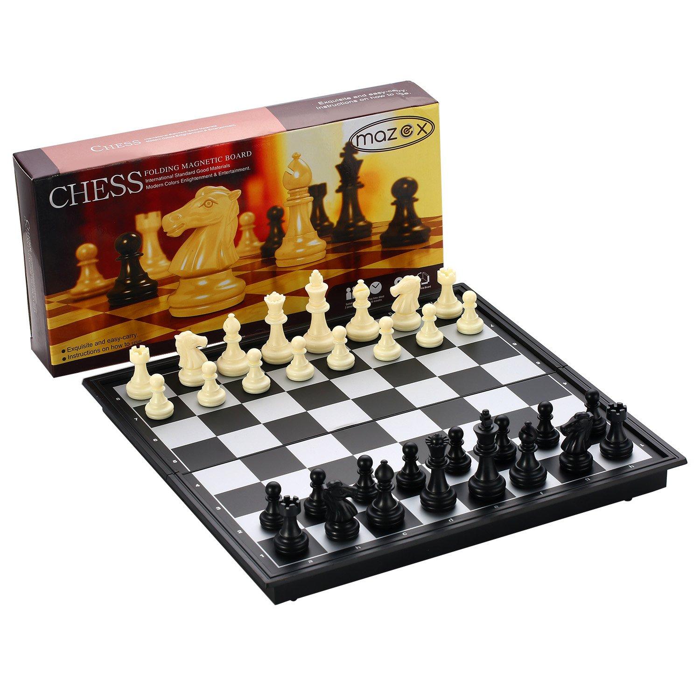通販 Magnetic Travel Folding Travel Chess Set for Game Chess by MAZEX Kids or Adults Chess Board Game 9.8X9.8X0.8 Inch (Black&White Chess B06XNLZ831, オキノシマチョウ:dad89b79 --- cygne.mdxdemo.com