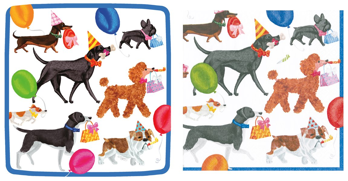 Entertaining with Caspari Plates and Napkins kit for 16 (Winston and Friends)