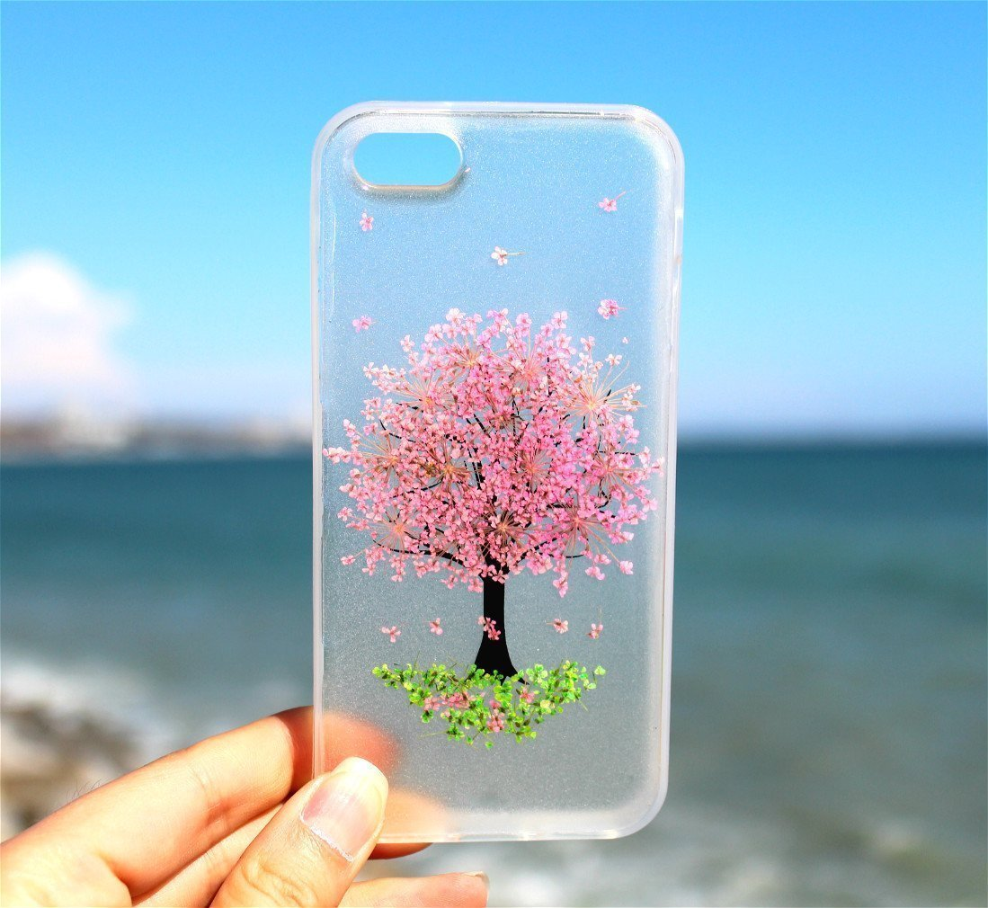 Handmade Real Pink Tree with Green Grass Blossom iPhone 7, 7 Plus, iPhone 8, 8 Plus, iPhone 6/6s, 6/6s Plus, iPhone SE, 5/5S Pressed Dried Real Flowers Slip Resistance Silicone Gel Rubber Case Cover