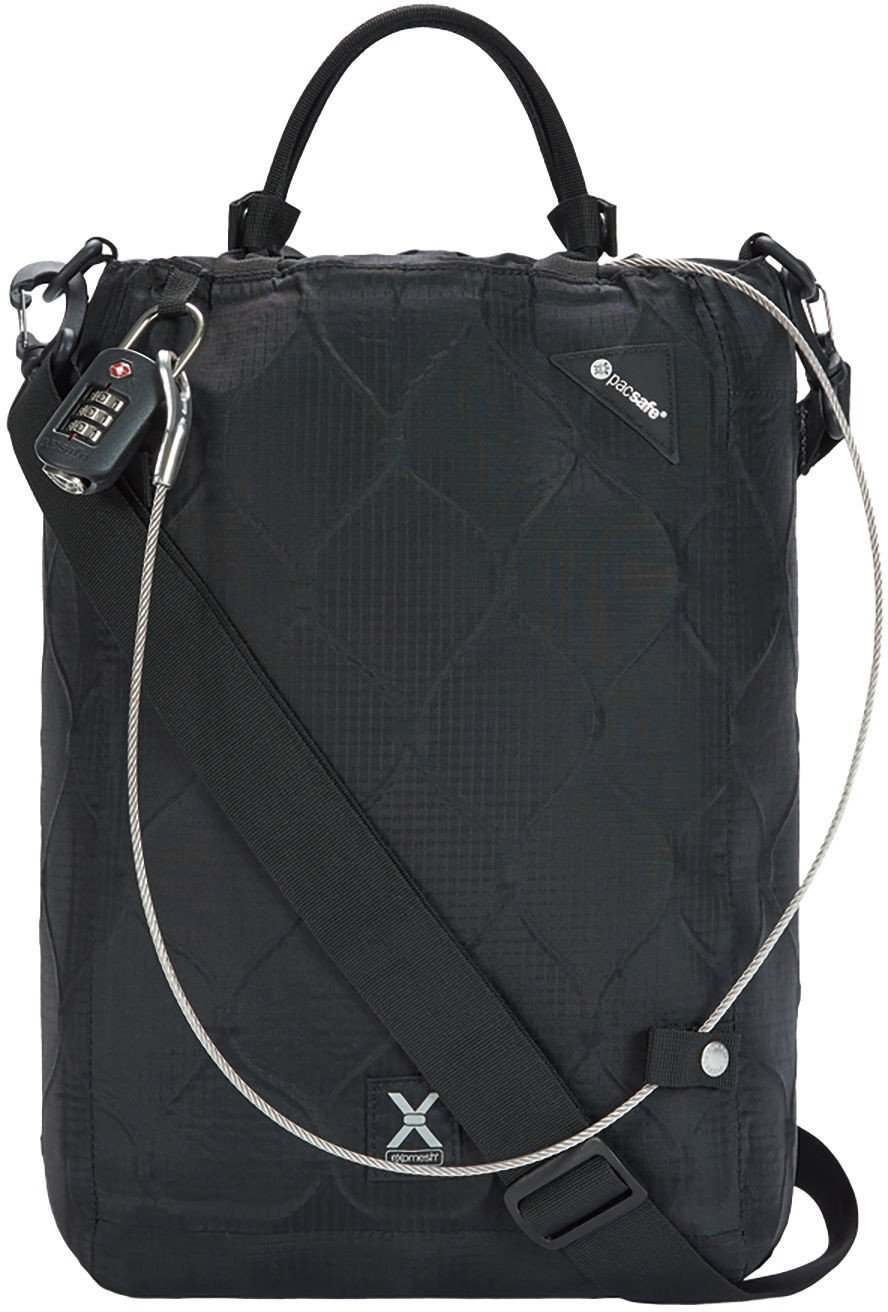 Pacsafe Travelsafe X15-16 Liter Portable Lockbox for Travel (Flat Design) -Fits 15 inch Laptop incl. TSA Accepted Combination Lock with Patented, Stainless Steel Mesh (Black), One Size by Pacsafe