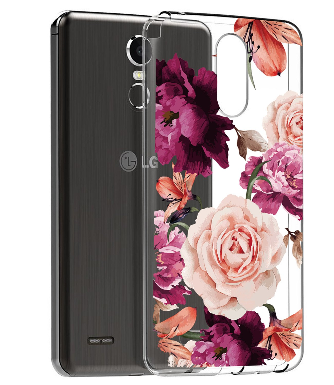 BAISRKE LG Stylo 3 Case, LG Stylo 3 Plus Case, LG Stylus 3 Case with Flowers Slim Shockproof Clear Floral Pattern Soft Flexible TPU Back Cove for LG Stylo 3/Stylo 3 Plus/LG LS777 [Purple Pink]