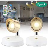 Wireless Spotlight, Battery Operated Accent Lights Art Lights for Paintings, with Remote Dimmable Cabinet Lights Picture Light Puck Lights, Stick on Anywhere Indoor, 4000k Warm Light (2 Pack)