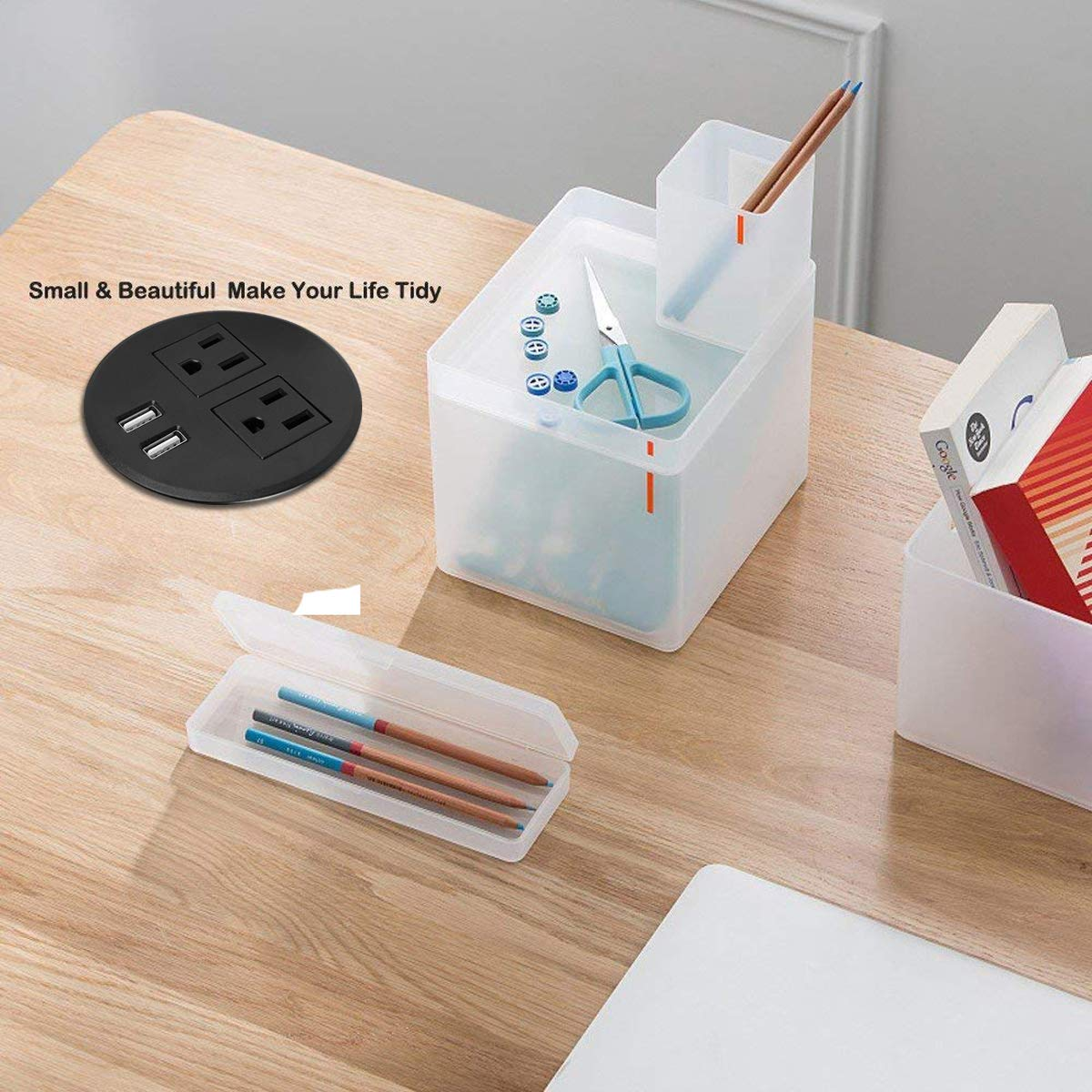 Desk Power Grommet with USB Charger,Hidden Power Socket,Recessed Hole Grommet Outlet,Mountable into 3 1//8 Inch Hole,Easy Access to 2 Plug Along