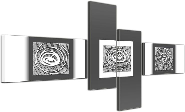 Cuadros en Lienzo - Arte abstracto Abstracto XIV violeta - 140x65cm 4 partes - Listo tensa. Made in Germany!!!: Amazon.es: Hogar