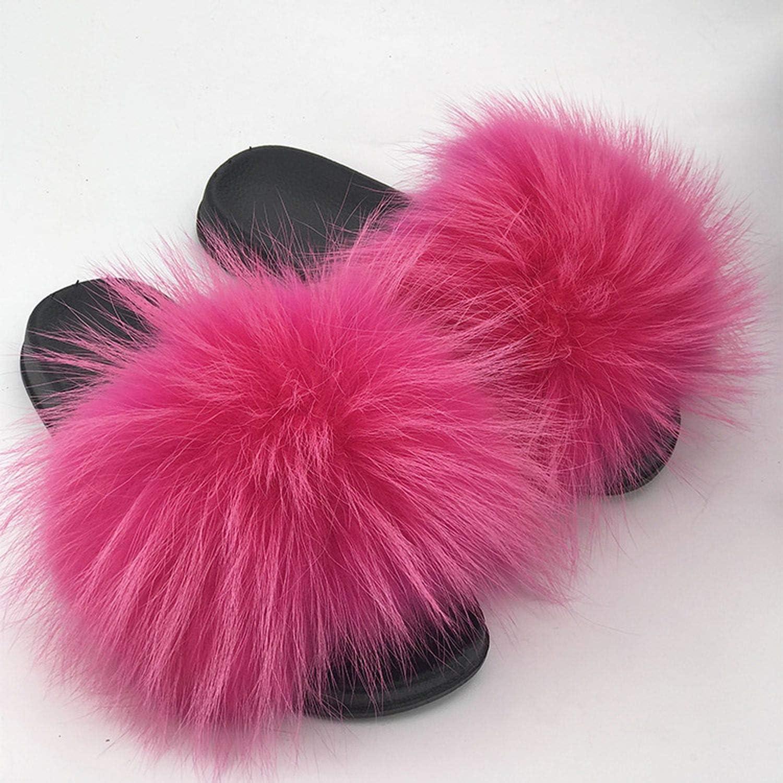 Real Raccoon Fur Slippers Women 2018 Sliders Casual Fox Hair Flat Fluffy Fashion Home Summer Big Size 45 Furry Flip Flops Shoes,8,6