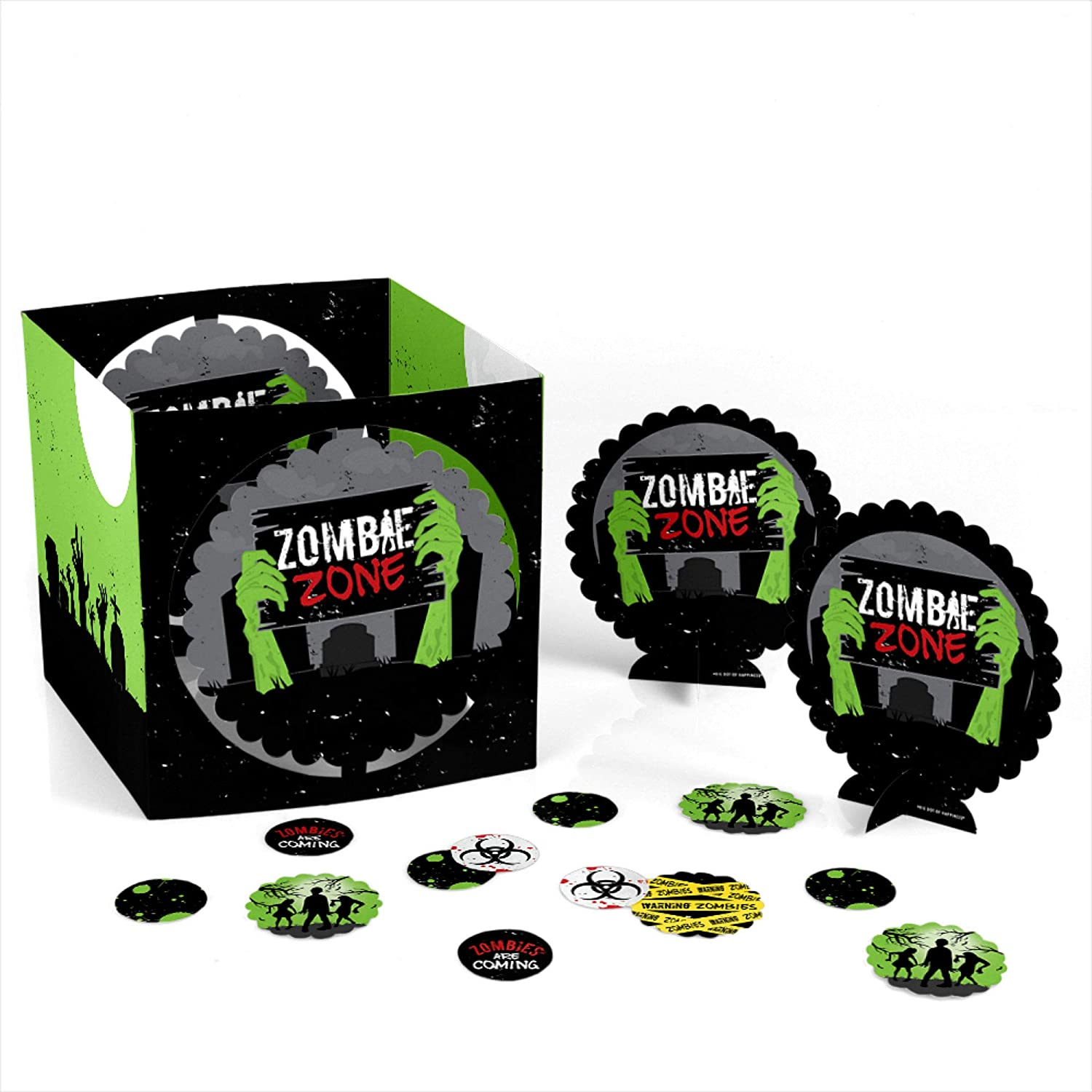 Big Dot of Happiness Zombie Zone - Halloween or Birthday Zombie Crawl Party Centerpiece & Table Decoration Kit