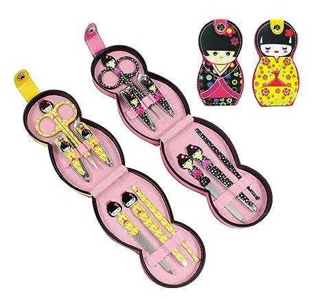 11f58d6c4f59 Hillent adorables muñeca patrón acero inoxidable manicura personal pedicura  conjunto con funda de cuero profesional