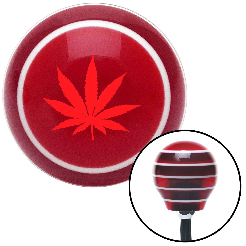 Red Marijuana Leaf American Shifter 116382 Red Stripe Shift Knob with M16 x 1.5 Insert
