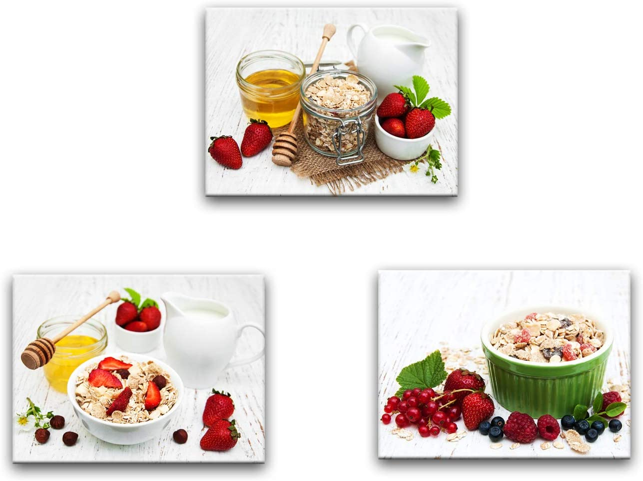 Artsbay Kitchen Canvas Wall Art Decorations Contemporary Painting Fruits Artwork 3 Panel Framed Canvas Prints of Oatmeal Milk Strawberry Modern Pictures for Home Wall Decor Dining Room
