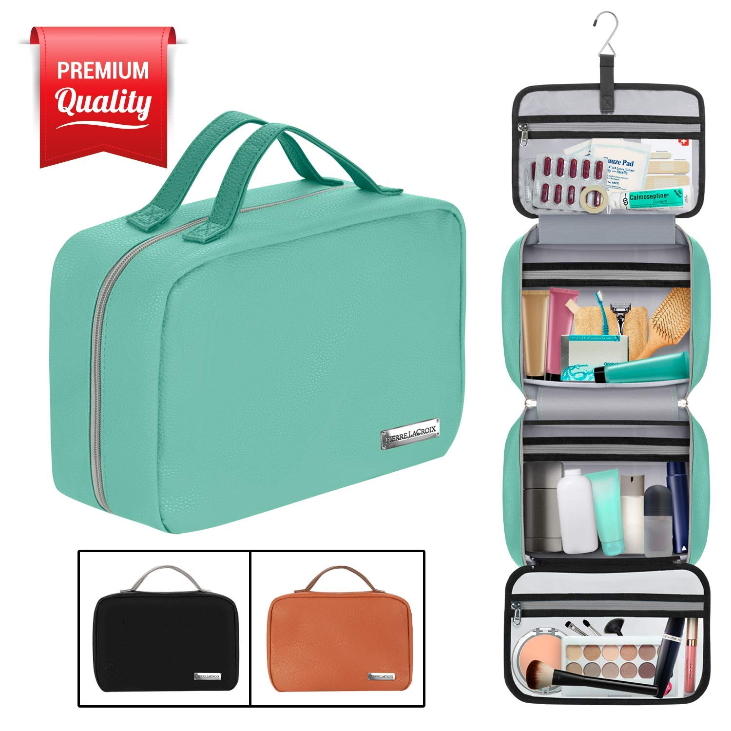 Hanging Travel Toiletry Bag for Women and Men (100% Leak Proof & Doubles as a Cosmetic/Makeup Bag) | Large (34''x11'') | Clear Pockets | Detachable Compartment | Cruelty-Free Leather | (Tiffany Blue) by Pierre LaCroix