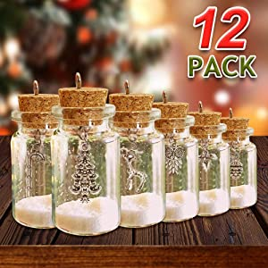 ORIENTAL CHERRY Christmas Ornaments - Set of 12 DIY Xmas Miniature Charm Glass Bottle - 2019 Home Farmhouse Rustic White Navidad Holiday Tree Decorations