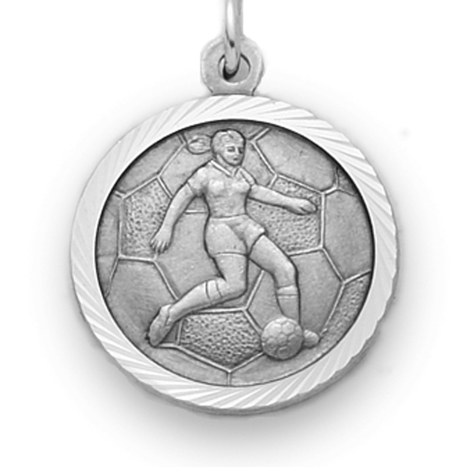TrueFaithJewelry Sterling Silver Girls Soccer Sports Medal with Saint Christopher Back 3//4 Inch UK/_B01ERVHAIC