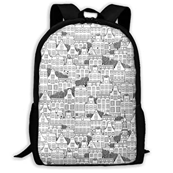 5b1226a904 TAOHJS106 Dutch Style Houses Pattern Waterproof Adult Backpack Shoulder Bag  for Women and Men Premium Durable