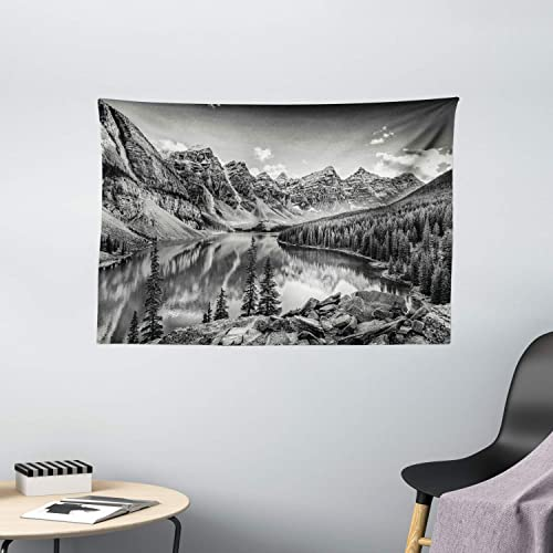 Ambesonne Black and White Tapestry, Mountain Creek Lake by The Hills Canadian Rocky Valley Peaceful Landscape Print, Wide Wall Hanging for Bedroom Living Room Dorm, 60 X 40 , Dark Grey