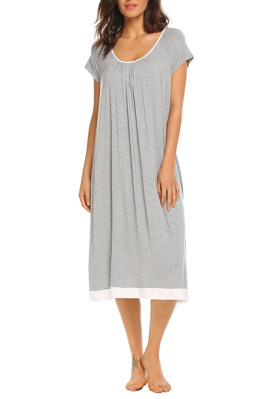 18797ec187 Ekouaer Nightgown Womens Oversized Loose Fit Sleepwear Long Loungewear Dress  S-XXL at Amazon Women s Clothing store